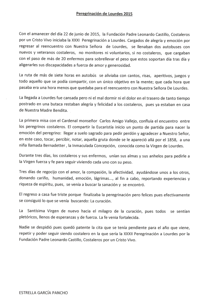 Crónica Lourdes 2015 Estrella