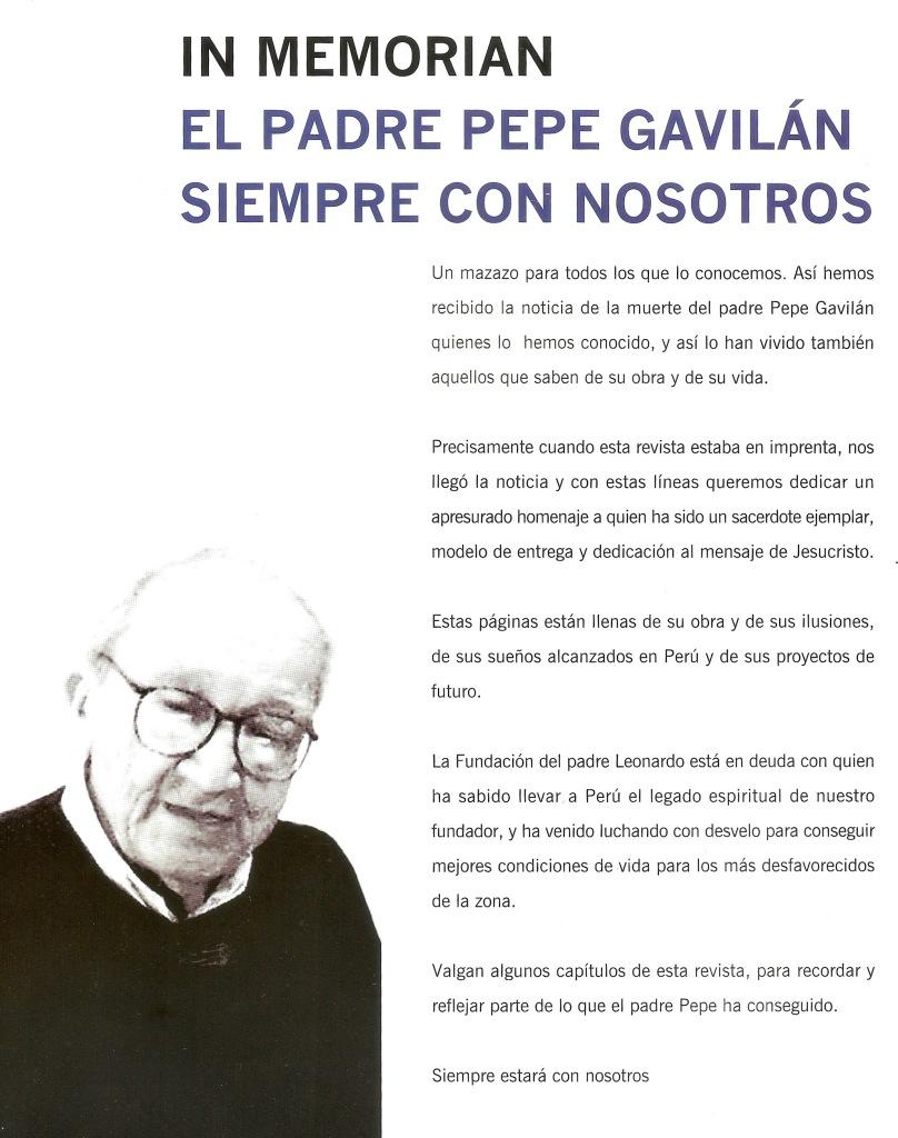 Escrito al Padre Pepe Gavilán por su fallecimiento