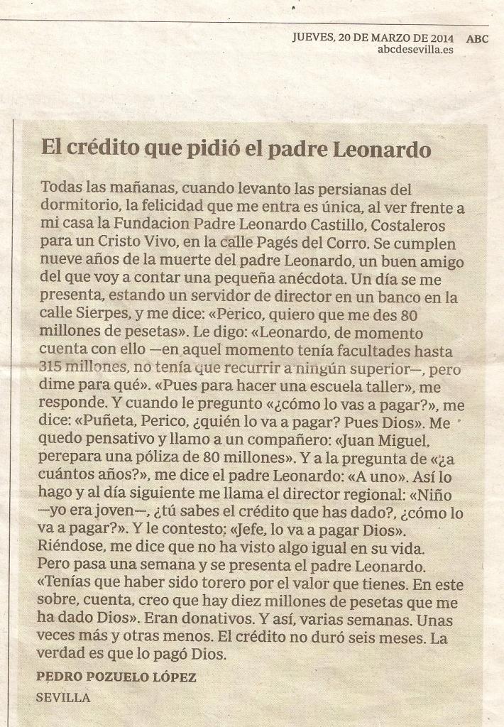 El Crédito que pidió el Padre Leonardo ABC 20Marzo 2014