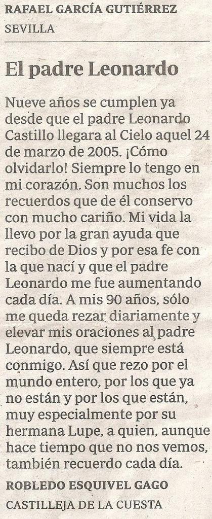 El Padre Leonardo 9 años de su muerte ABC 18 Marzo 2014