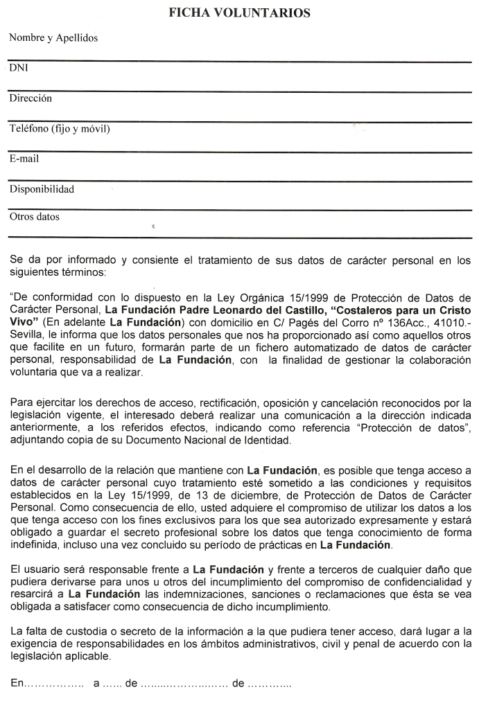 Escaneo ficha voluntario