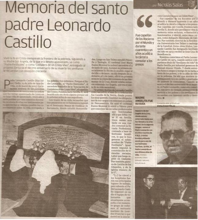 Memoria del Santo Padre Leonardo 1 y 2 Enero 2014