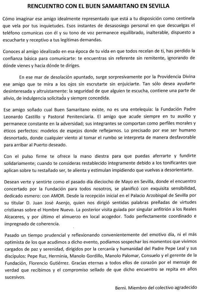 Reencuentro con ex-reclusos de Sevilla I Reencuentro ex-reclusos18 Mayo 2013